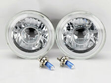 "7"" Round Projector H4 CCFL Halo Glass Headlight Conversion w/ Bulbs Plymouth"