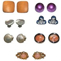 Vintage Estate Earrings Variety Lot Wood Metal Mother of Pearl Clip On Gold Tone