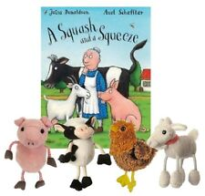 A Squash and a Squeeze Story Book Set  Cow Pig Goat Hen Finger Puppet EYFS KS1/2