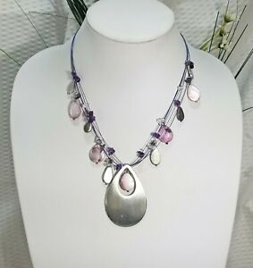 Floating Pink MOP and Amethyst Nugget Illusion Stainless Steel Teardrop Pendant
