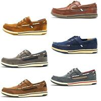 Sebago Triton Three Eye FGL Suede Boat Deck Shoes in Navy Blue & Brown Cognac