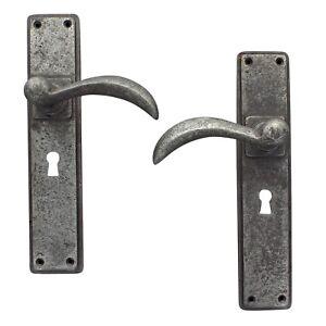 "10"" Ellipse Pewter Lever Door Handles Set Latch Lock Bathroom HeavyPewter Handle"