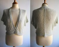 SANDWICH Pale Green Cardigan Loose Knit Cotton Tape Yarn Size S UK 12