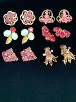 Lot 6 Pairs Pink Colors Vintage High Quality Clip Rhinestones Earrings #2