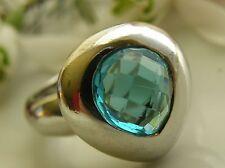 Alter Ring 925° Silber Tropfen echter Blautopas sehr edel Gr.56  um 1970 R345