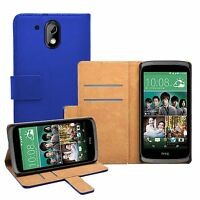 Wallet BLUE Leather Flip Case Cover Pouch Saver For HTC Desire 526G Dual