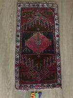 """Turkish Wool Small Area Rug, Vintage Hand Knotted, 2'7""""x 1'3"""", FREE SHIPPING!"""