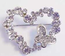DIAMANTE AND  SILVER COLOUR HEART BROOCH 40MM X 30MM
