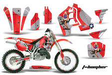 Honda CR500 With # Plate Graphics Kit Dirt Bike Wrap MX Decals 1989-2001 TBOMB R