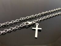 """3mm Genuine 925 Sterling Silver Anklet Ankle Chain Plain Cross Charm 10"""" (25cm)"""
