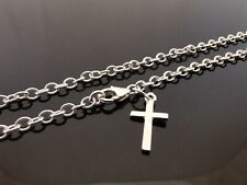 "3mm Genuine 925 Sterling Silver Anklet Ankle Chain Plain Cross Charm 10"" (25cm)"