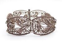 Vintage Continental Silver Filigree Flower Bracelet