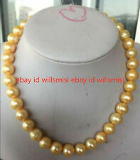 """Gold Pearl Beads Necklace 18"""" Natural 7-8mm Round South Sea"""
