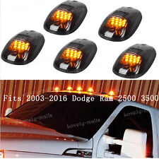 5pcs Smoked Cab Roof Marker Lights Amber For 2003-2016 Dodge Ram 2500 3500 4500