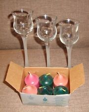Partylite Crystal Votive Trio Frosted Glass Stemmed Candle Holder 6 Candles