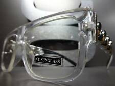 VINTAGE HIP HOP RAPPER PARTY Clear Lens EYE GLASSES Thick Silver Gold Chain Link