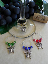 Set of 4 Butterfly Wine Glass Charms  - Great Holiday Gift Idea or Party Favors