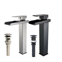 Tall Bathroom Basin Faucet Waterfall Spout Sink Vessel Mixer Tap Single Hole