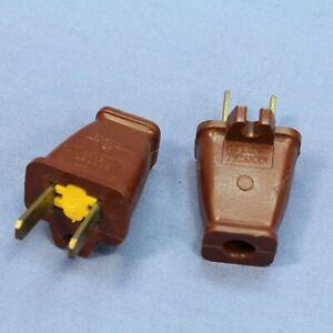 2 Cooper Brown Plugs w/ CORD CLIP 15A Non-Polarized 1-15P Non-Grounding SA840B