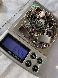 Job Lot Vintage Sterling Silver Jewellery scrap & Good 64.4g