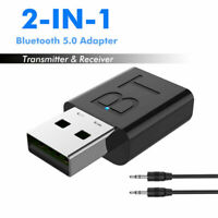 USB Wireless Bluetooth 5.0 Transmitter Receiver Stereo 3.5mm Audio For TV Car PC