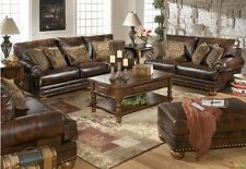 Traditional Brown Bonded Leather Sofa Loveseat Chair Ottoman 4pc Living Room Set