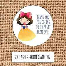 Princess Party bag stickers 24 thank you coming sweet cone birthday Snow White
