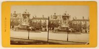 Parigi Place Saint-Sulpice Francia Foto Stereo PL55L4n Vintage Albumina c1878