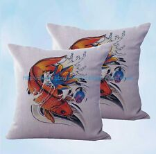 US Seller-2 pcs Chinese Japanese Koi Art cushion cover home accessories decor