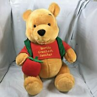 Winnie The Pooh World's Greatest Teacher Plush Disney w/ Journal RARE Stuffed