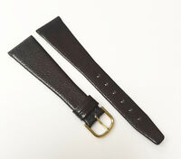 Genuine Leather 21mm Brown Tone Real Leather Gold Tone Buckle Watch Band