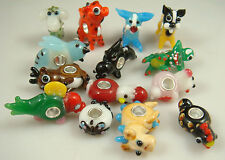 2pcs mix SILVER MURANO GLASS BEAD LAMPWORK Animal fit European Charm Bracelet j4