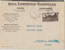 ITALY 1951 25LMICHETTI ISOLATED ON COMERCIAL COVER FROM POGGIBONSI X ABBADIA S.S