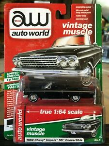 1/64 AUTO WORLD 1962 CHEVROLET IMPALA SS CONVERTIBLE ALL BLACK