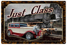 Classic Car And Train Engine Just Class Sign