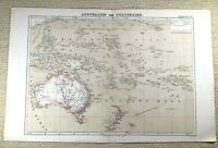 1874 Ancien Carte De Australie Polynésie New Zealand Guinea Allemand 19th Siècle
