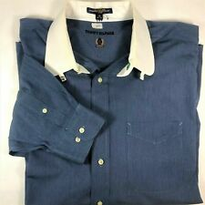 VTG Tommy Hilfiger Mens 18 34/35 Solid Blue Button Up Dress Shirt White Collar
