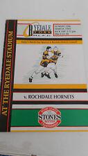 Ryedale-York v Rochdale Hornets programme 15.3.92
