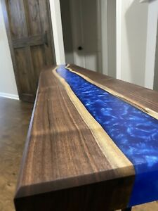 Black Walnut and Epoxy console / sofa table.