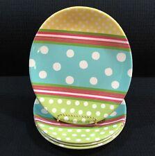 Pottery Barn Kids Set of 4 Melamine Easter Egg Plates Polka Dots And Stripes