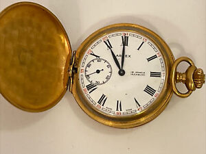 Vintage Arnex Incabloc 15 Jewels Gold Plated Pocket Watch With Chain Swiss Made