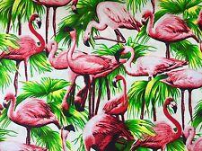 FQ Funky Flamant oiseaux tissu Kitsch Crème Tropical