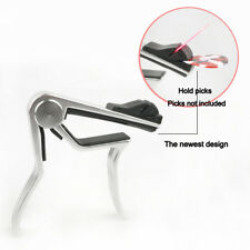 Alloy Guitar Capo With Pick Holder For Acoustic Electric Classical Guitar Silver