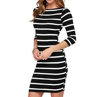 Women Round Neck Fashion Black and White Striped Long Sleeve Straight Plus Size