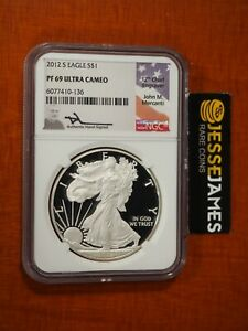 2012 S PROOF SILVER EAGLE NGC PF69 ULTRA CAMEO JOHN MERCANTI HAND SIGNED LABEL