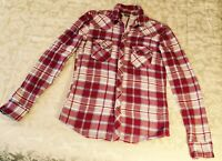 Women's small SALT VALLEY WESTERN Red Plaid Pearl Snaps. Cowgirl Rodeo Country