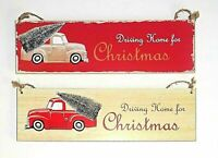 """Dekohänger Weihnachten Hängedeko Holz rot """"Driving Home for Christmas""""Schriftzug"""