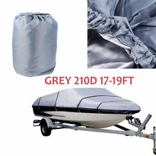 17-19ft Speed boat Boat Cover Heavy Duty Waterproof Match Fish-Ski V-Hull Grey