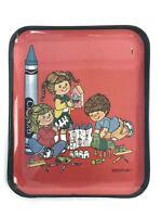 "Vintage Retro Ca. 1970s Crayola Crayons Melamine TrayBinney Smith Red 10-1/4"""