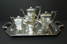 "4-Pc Japanese Sterling Silver Coffee / Tea Set & Huge 23"" Sterling Silver Tray!"